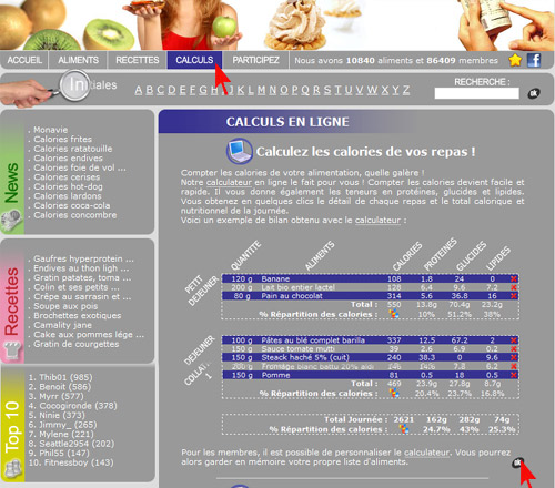 Demontration et mode d'emploi du calculateur de calories